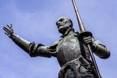 Estatuas de Don Quixote y de Sancho Panza en la plaza de Espana en Madrid Imagen de archivo libre de regalías
