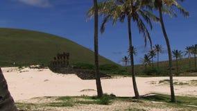 Estatuas de la isla de pascua con 3 palmeras en primero plano metrajes