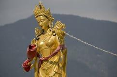 Estatuas de las diosas de la colina budista en la parte superior en el parque de naturaleza de Kuenselphodrang, Timbu, Bhután foto de archivo libre de regalías
