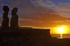 Estatuas de Moai Fotografía de archivo libre de regalías
