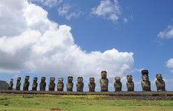 Estatuas de Moai en la isla de pascua Foto de archivo libre de regalías