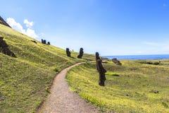 Estatuas de Moai en la isla de pascua, Chile Foto de archivo libre de regalías