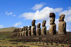 Estatuas de Moai, isla de pascua, Chile Foto de archivo libre de regalías