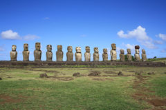 Estatuas de Moai, isla de pascua, Chile Fotos de archivo libres de regalías
