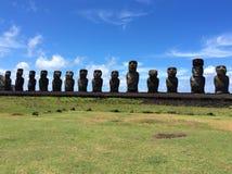 Estatuas de Moai, isla de pascua, Chile foto de archivo