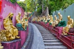 Estatuas de oro de Buda en el monasterio de Buddhas de los diez milésimos, Hong Kong Fotografía de archivo libre de regalías