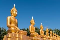 Estatuas de oro de Baddha imagenes de archivo