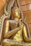 Estatuas de oro grandes de Buddha fotos de archivo