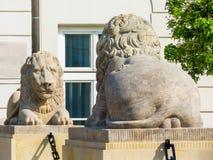 Estatuas de piedra de leones en la calle de Varsovia Imagen de archivo