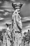Estatuas del Caryatides en el chalet Adriana, Tivoli Foto de archivo libre de regalías