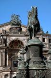 Estatuas del teatro de la ópera en Dresden, Alemania Imágenes de archivo libres de regalías