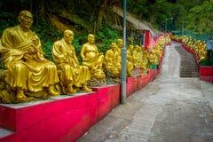 Estatuas en el monasterio de Buddhas de los diez milésimos en la lata de Sha, Hong Kong, China fotografía de archivo