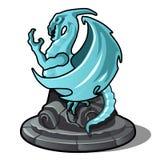 Estatueta da cor de turquesa do dragão isolada no fundo branco Ilustração do vetor ilustração do vetor