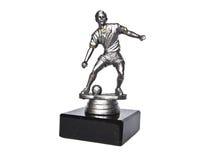A estatueta de prata do jogador de futebol Fotografia de Stock