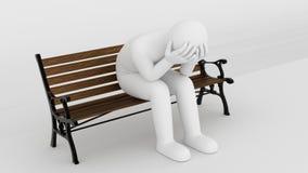 Estatueta que senta-se no parkbench Imagens de Stock