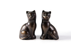 Estatuetas de bronze do gato preto Fotografia de Stock