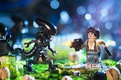 Estatuetas do filme de LEGO Alien Imagem de Stock Royalty Free