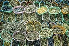 Estatuetas e amuletos budistas pequenos no mercado dos amuletos Foto de Stock