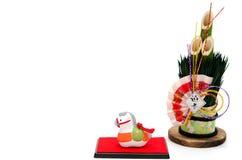 Estatuilla del caballo y el pino del Año Nuevo. Imagen de archivo