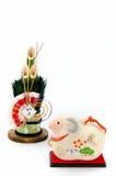 Estatuilla del pino de las ovejas y del Año Nuevo Fotografía de archivo libre de regalías