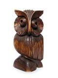 Estatuilla tallada buho de madera Imagen de archivo