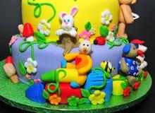 Estatuillas animales de la pasta de azúcar - detalles de la torta Fotos de archivo libres de regalías