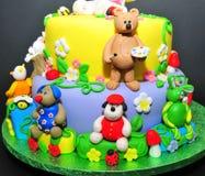 Estatuillas animales de la pasta de azúcar - detalles de la torta Fotos de archivo