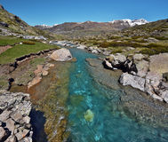 Estaube Gave river watercourse. Of along Estaube circus via Glorette lake and Heas Valley in French Pyrenees stock photo