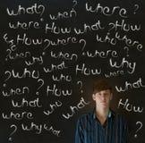 Homem de negócio de pensamento com perguntas do giz Imagens de Stock