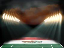 Estádio de futebol com campo textured bandeira de México Foto de Stock