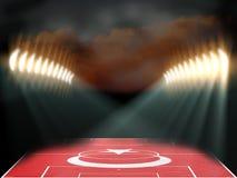 Estádio de futebol com campo textured bandeira de Turquia Fotografia de Stock Royalty Free