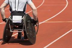Estádio do atleta da cadeira de rodas Fotografia de Stock Royalty Free