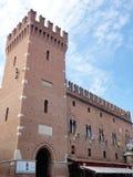 Este城堡 塔和墙壁 费拉拉意大利 库存图片