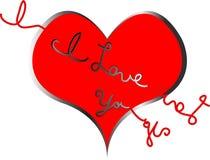 Coração com eu te amo rasgado para fora ilustração stock
