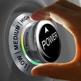 Este conceito da ilustração mostra o ajuste do consumo de potência Imagens de Stock Royalty Free