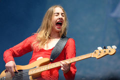 Este Haim, bass player of Haim band, performance at Heineken Primavera Sound 2014 Royalty Free Stock Image