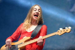 Este Haim, bass player of Haim band, performance at Heineken Primavera Sound 2014 Festival Royalty Free Stock Photo