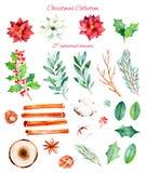 Este inverno ajustado com clipart 27 handpainted Imagens de Stock