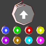 Este lado acima do ícone do sinal Símbolo frágil do pacote jogo Fotos de Stock