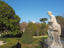 Este, Padova, Italy. The ruins of the Carrarese castle and its public park stock photo