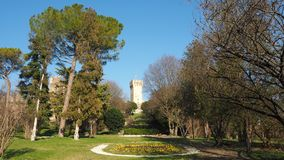 Este, Padova, Italy. The ruins of the Carrarese castle and its public park stock photography