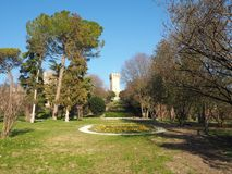 Este, Padova, Italy. The ruins of the Carrarese castle and its public park stock image