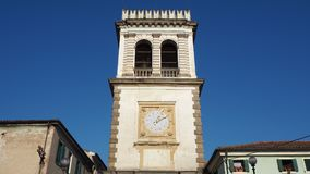 Este, Padua, Italien Der alte Glockenturm benutzt als Tür zum Dorf Stockbild