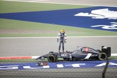 Esteban Gutierrez de Sauber-Ferrari después del accidente Imágenes de archivo libres de regalías