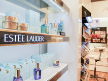 Estee Lauder. Cosmetics in a store - focus is on the left, copy space to the right Stock Photos