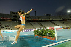 Estefania Tobal of Spain. In action on 3000m steeplechase Event of Barcelona Athletics meeting at the Olympic Stadium on July 22, 2011 in Barcelona, Spain Royalty Free Stock Photo