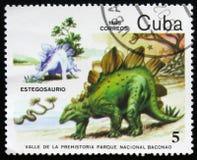 Estegosaurus,系列致力了于史前动物,大约1985年 免版税库存照片