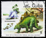 Estegosaurus, serie poświęcać prehistoryczni zwierzęta około 1985, Zdjęcia Royalty Free