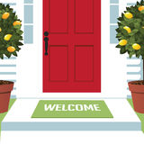 Esteira bem-vinda na porta da rua ilustração do vetor