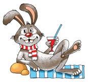 Esteira engraçada do vidro do humor da imagem dos desenhos animados do coelho ilustração do vetor
